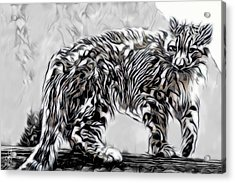 Acrylic Print featuring the digital art Snow Leopard by Pennie McCracken