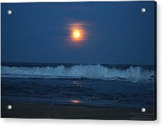 Snow Moon Ocean Waves Acrylic Print