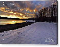 Snow On Beach Acrylic Print
