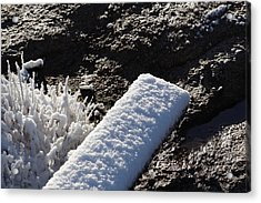 Snow On Plank With Rock Acrylic Print