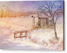 Snow On The Fishing Pond Acrylic Print