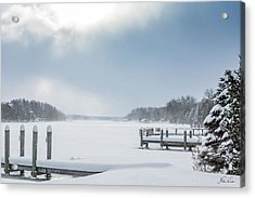 Snow On The Lake Acrylic Print