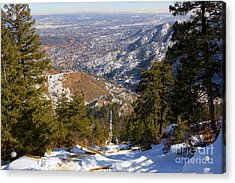 Snow On The Manitou Incline In Wintertime Acrylic Print