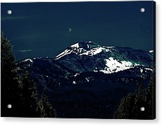 Snow On The Mountain At Night Acrylic Print