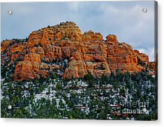 Snow On The Red Rocks Acrylic Print by Jon Burch Photography