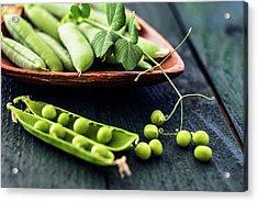 Snow Peas Or Green Peas Still Life Acrylic Print by Vishwanath Bhat
