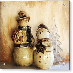 Snow People In Love Acrylic Print by Marsha Heiken