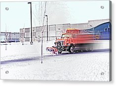Snow Plow In Business Park 1 Acrylic Print by Steve Ohlsen