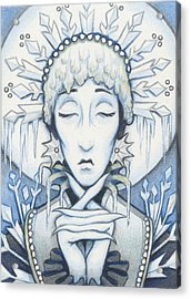 Snow Queen Slumbers Acrylic Print by Amy S Turner