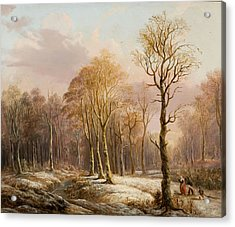 Snow Scene With Figures Acrylic Print by MotionAge Designs