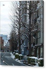 Snow Shibuya Tokyo Japan Acrylic Print by Lee Tinglu