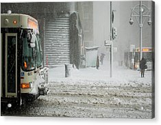 Acrylic Print featuring the photograph Snow Storm Bus Stop by Stephen Holst
