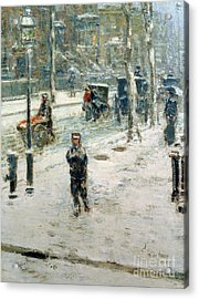 Snow Storm On Fifth Avenue Acrylic Print by Childe Hassam