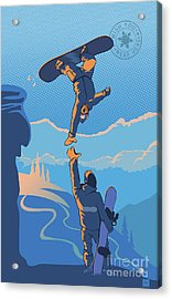 Snowboard High Five Acrylic Print