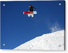 Snowboarder In Serre Chevalier France Acrylic Print by Pierre Leclerc Photography