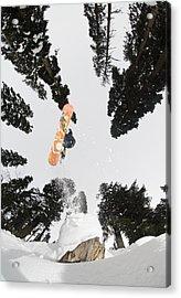 Snowboarding At Gulmarg Resort Acrylic Print by Christian Aslund