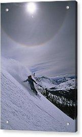 Snowboarding Down A Peak In Yosemite Acrylic Print by Bill Hatcher