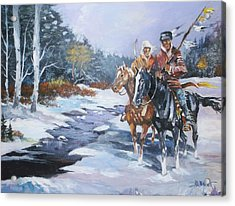 Snowbound Hunters Acrylic Print