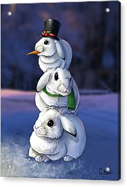 Snowbun Acrylic Print by Cara Bevan