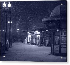 Snowfall In Harvard Square Cambridge Ma Kiosk Monochrome Blue Acrylic Print