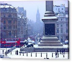 Snowfall Invades London Acrylic Print by Christopher Robin