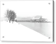 Snowfall On The River Danube At Ybbs Acrylic Print
