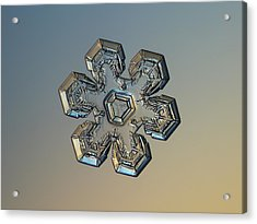 Acrylic Print featuring the photograph Snowflake Photo - Massive Gold by Alexey Kljatov