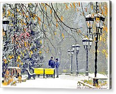Acrylic Print featuring the photograph Snowing by Vladimir Kholostykh
