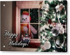 Snowman At The Window Card Acrylic Print by Tom Mc Nemar
