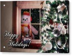 Snowman At The Window Card Acrylic Print