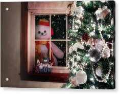 Snowman At The Window Acrylic Print by Tom Mc Nemar
