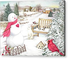 Acrylic Print featuring the painting Snowman Cardinal In Winter Garden by Judith Cheng