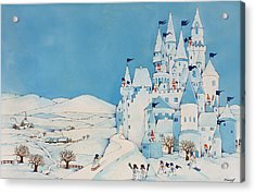 Snowman Castle Acrylic Print by Christian Kaempf