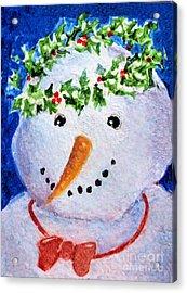 Snowman  Acrylic Print by Diane Ursin