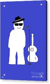 Acrylic Print featuring the digital art Snowman Musician by Barbara Moignard