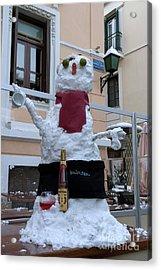 Snowman On A Table Acrylic Print