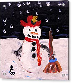 Acrylic Print featuring the painting Snowman Under The Stars by Mary Carol Williams