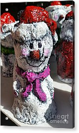 Acrylic Print featuring the sculpture Snowman Pink by Vickie Scarlett-Fisher
