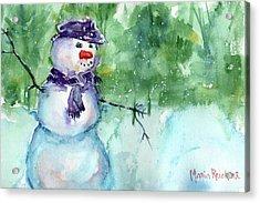 Snowman Watercolor Acrylic Print