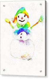 Acrylic Print featuring the painting Snowman With Rainbow 1 by Claire Bull