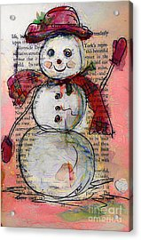 Snowman With Red Hat And Mistletoe Acrylic Print