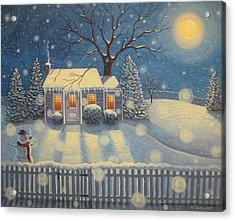 Snowman's Cottage Acrylic Print