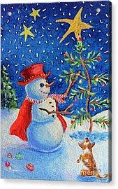 Snowmas Christmas Acrylic Print by Li Newton