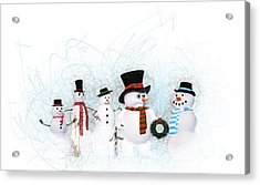 Snowmen Acrylic Print by Methune Hively