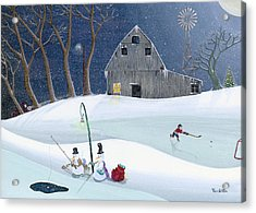 Snowmen On Hockey Pond Acrylic Print by Thomas Griffin