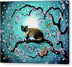 Snowshoe Cat And Dragonfly In Sakura Acrylic Print by Laura Iverson