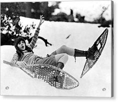 Snowshoeing Acrylic Print by American School