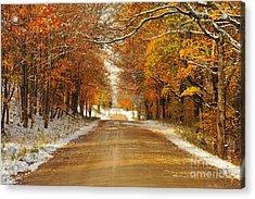 Snowy Autumn Morning In Pure Michigan Acrylic Print