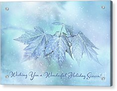 Snowy Baby Leaves Winter Holiday Card Acrylic Print