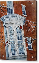 Acrylic Print featuring the painting Snowy Bay by Patsy Sharpe